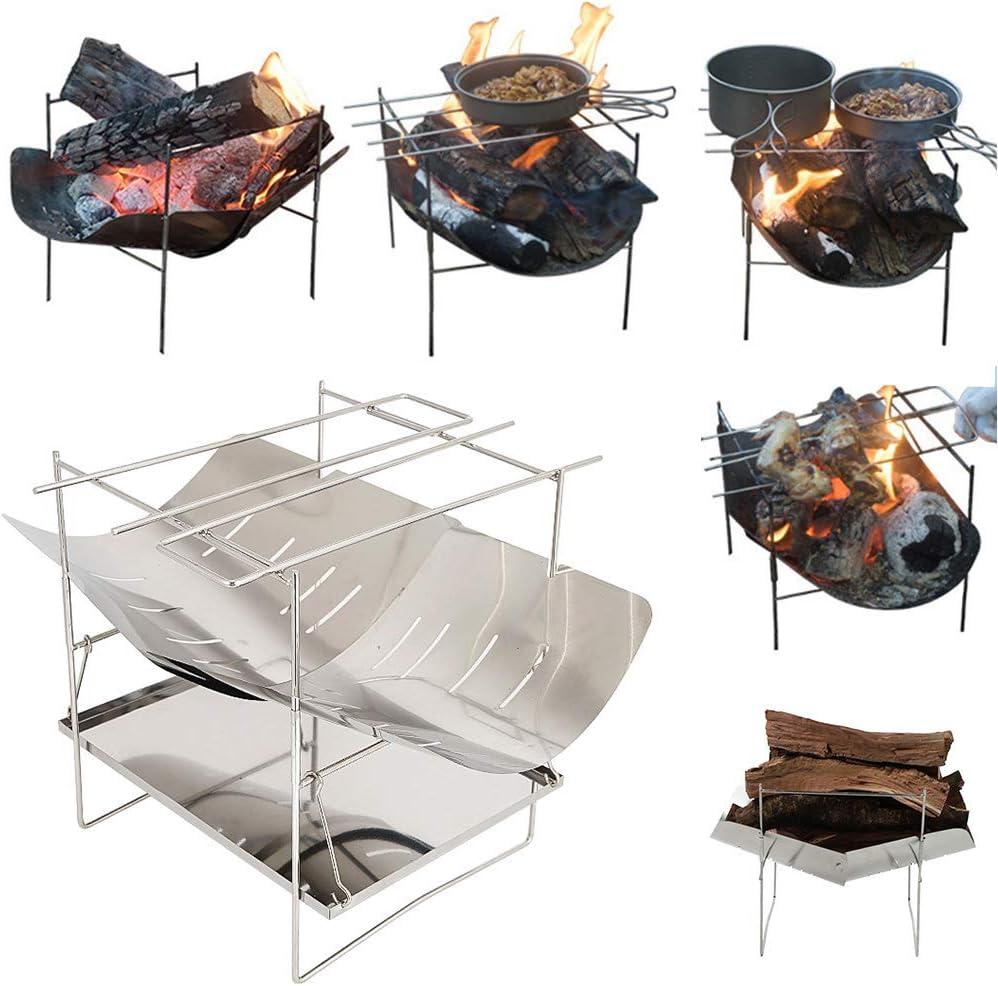 basku Barbacoa de Carbón, Acero Inoxidable Parrilla de carbón Parrilla de Barbacoa Plegable para cocinar al Aire Libre, Acampar, IR de excursión, Picnic, 26,5 x 21 x 21 cm