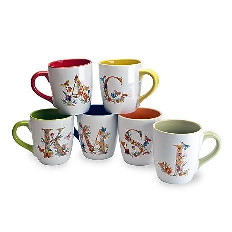 amazon com blue harbor 34200 15 oz floral monogram mug multi