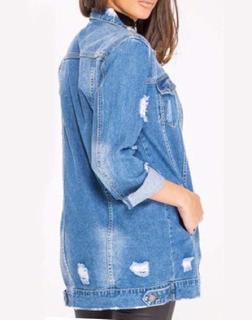 NestYu Women Ripped Hole Boyfriend Loose Button Pockets Denim Jacket Outwear