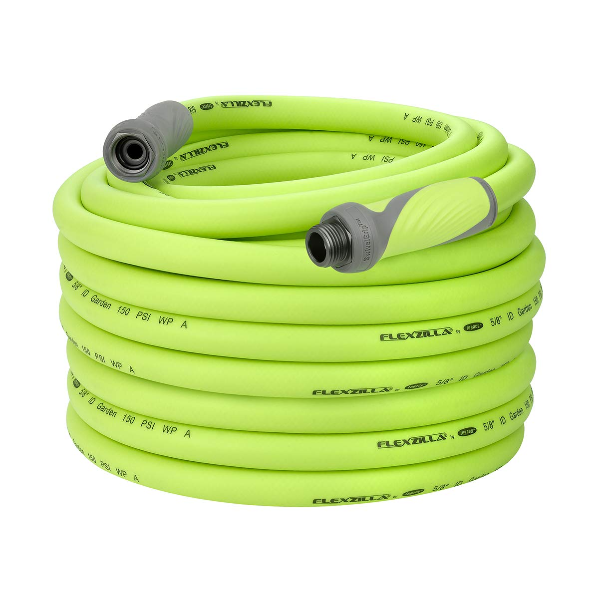 "Flexzilla HFZG5100YWS Garden Hose, 5/8"" (inches) x 100' (feet), ZillaGreen w/SwivelGrip"