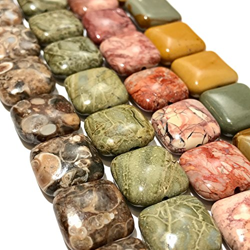 [ABCgems] Rare Turritella (Fossil Sea Snails), Wild Horse Picture Jasper, Red Porcelain Jasper, Green Brecciated Jasper (4 Strands Lot) 14mm Square Beads. Each Strand 8