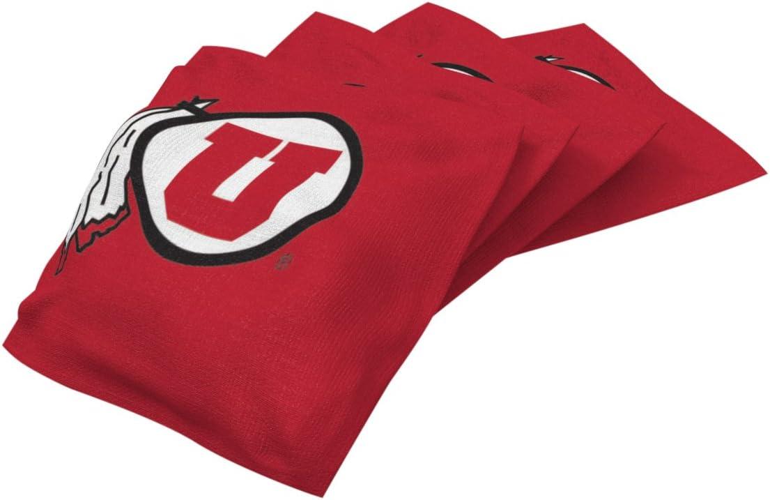 Wild Sports NCAA College Utah Utes Red Authentic Cornhole Bean Bag Set 4 Pack