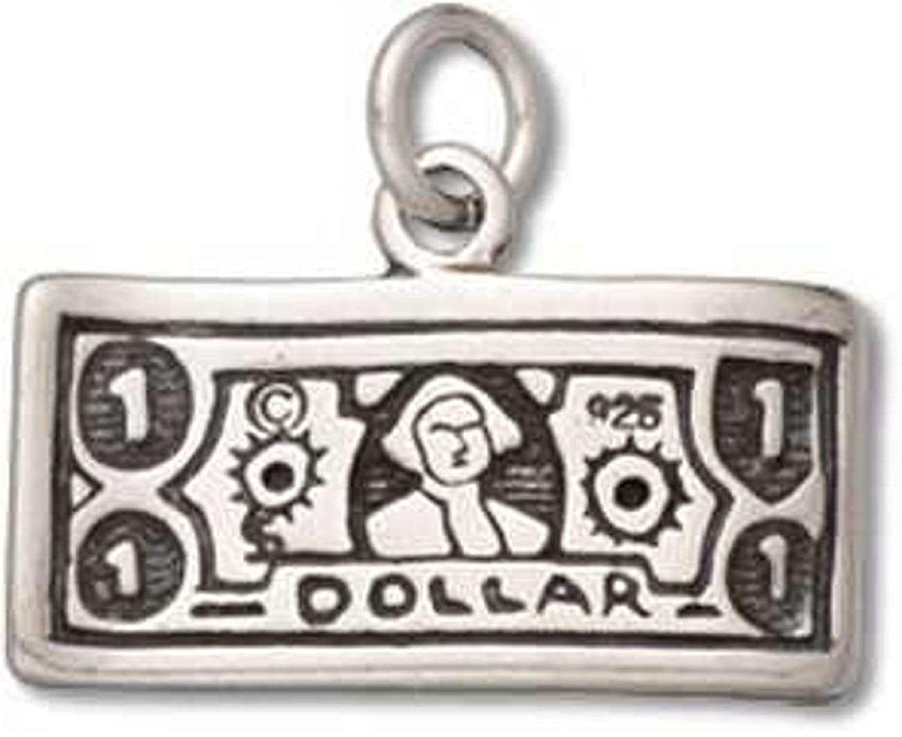 Sterling Silver Womens 1mm Box Chain 3D 2-Sided One Dollar Bill Pendant Necklace