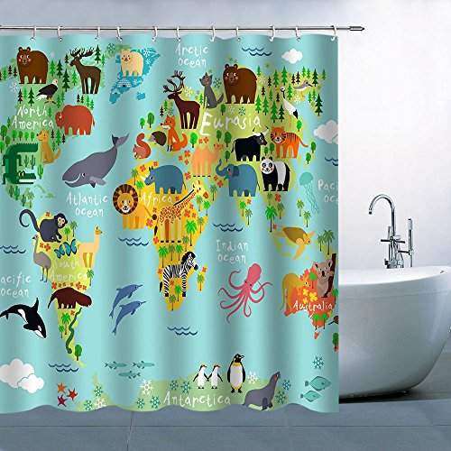 Cartoon Map - BT world Children and Kids Cartoon Shower Curtain,Animal Map of The World Waterproof Polyester Fabric Shower, 71X 71 in