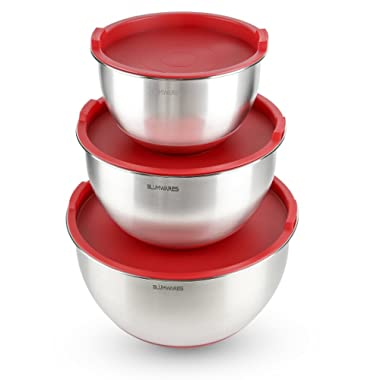 Blümwares Best Stainless Steel Mixing Bowls Set of 3 with Airtight Lids, Nesting Bowls Set with Marked Measurements, Non-Slip Rubber Base