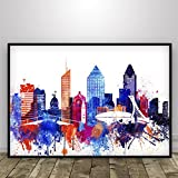 Watercolor Montreal, Montreal print, Montreal poster, Montréal city print, Québec, Canada, skyline, wall art, Wall decor