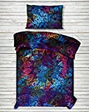 4 PC Set Doona Bedding Boho Indian Tye Dye Blue Star Bohemian Mandala Duvet Cover Reversible Doona Cover with 1 pc Tapestry Twin Size Bedsheet Elephant Mandala Wall Hanging Beach Throw & Pillow Covers