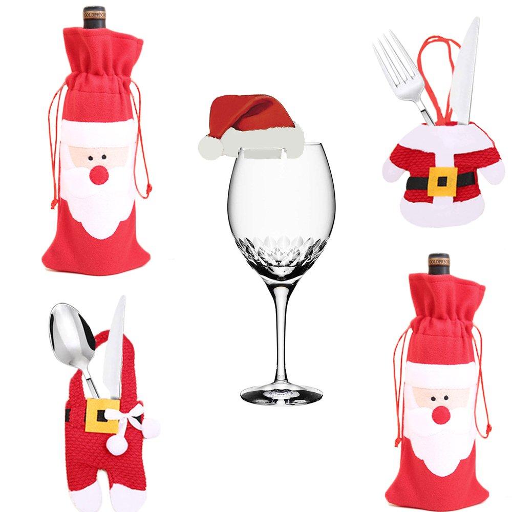 Christmas Santa Theme Table Deco Set, 6 Pcs Glass Decorations Card Santa Hats, 3 Pcs Red Wine Bottle Cover Bag, 8 Pcs Knives Forks Bag Santa Cloth Form IMMIGOO