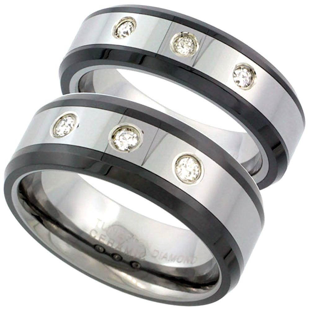 2-Ring Set 6 & 8mm Tungsten 3 Stone Diamond Wedding Ring Beveled Black Ceramic Edges Comfort fit, size 9.5