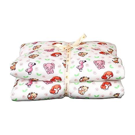Cute Animal Print Toddler Stroller Quilt Cotton Soft Crib Comforter Baby Blanket for Newborn Kids White