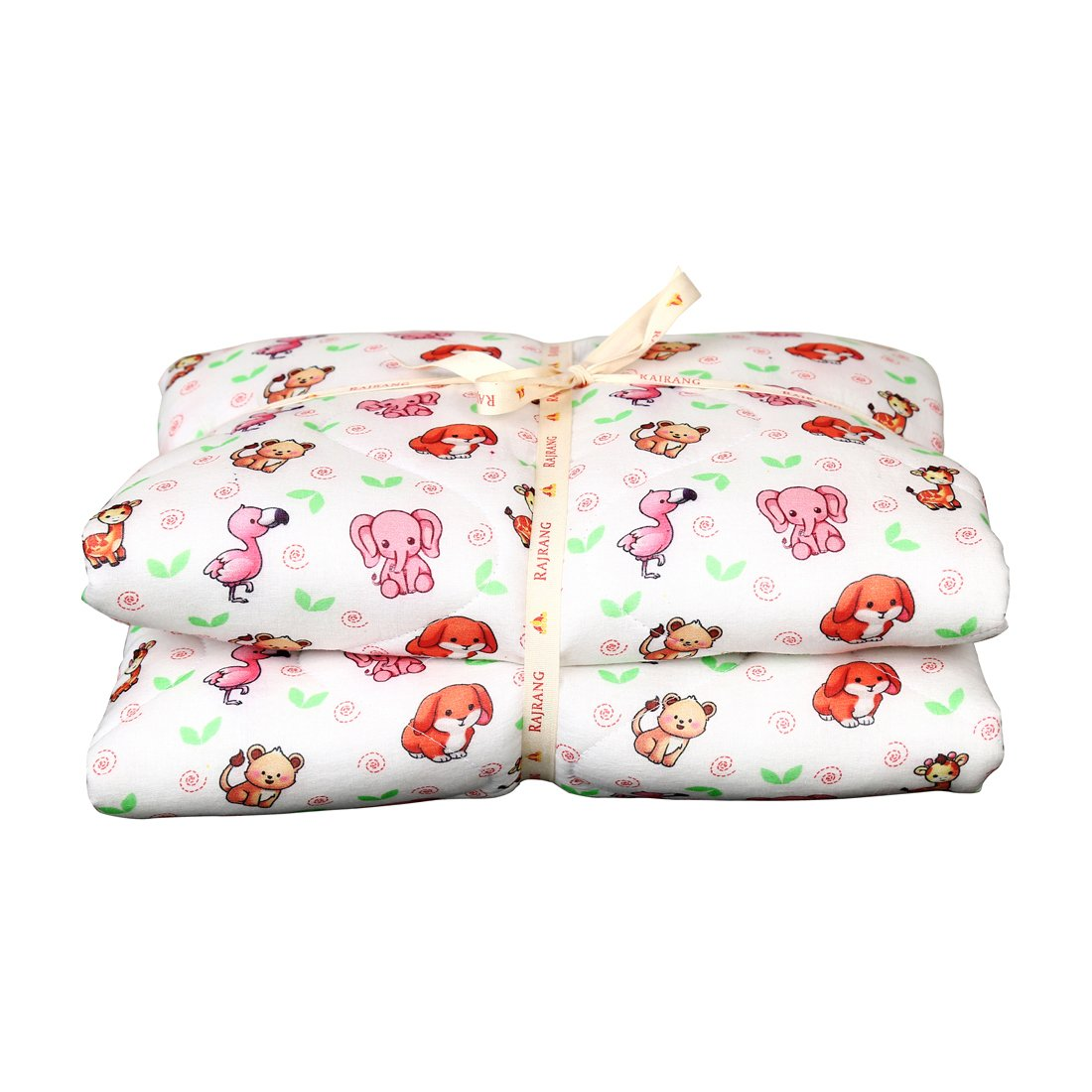 White and Pink Baby Quilt - Warm and Snuggly Toddler Blanket Animal Printed Crib Comforter for New Born Boys & Girls Bed Covers by RAJRANG (Image #1)