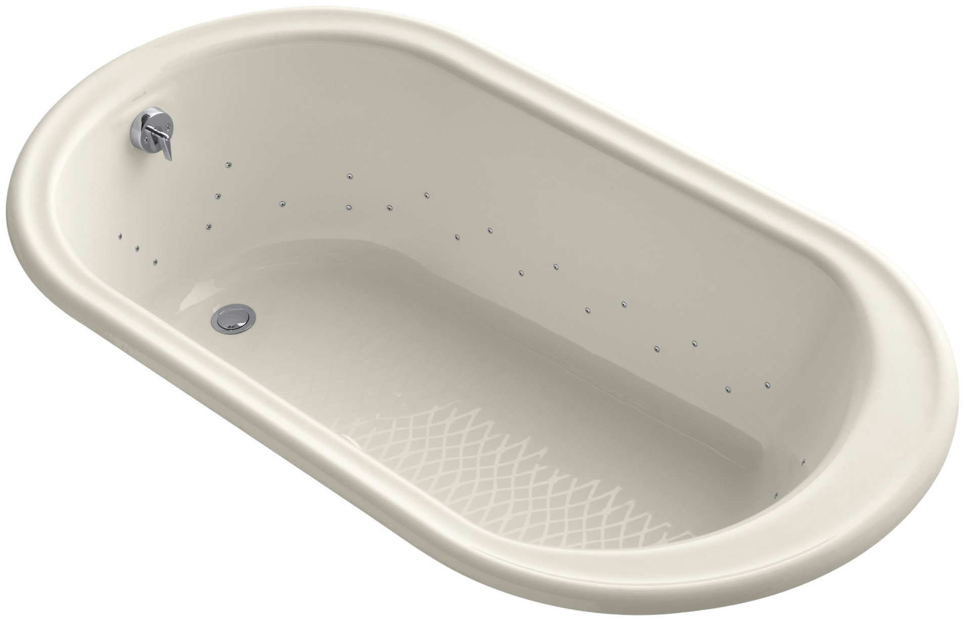 Kohler K-712-GCP-47 Iron Works Bubblemassage 5.5Ft Bath with Polished Chrome Airjet Color, Almond