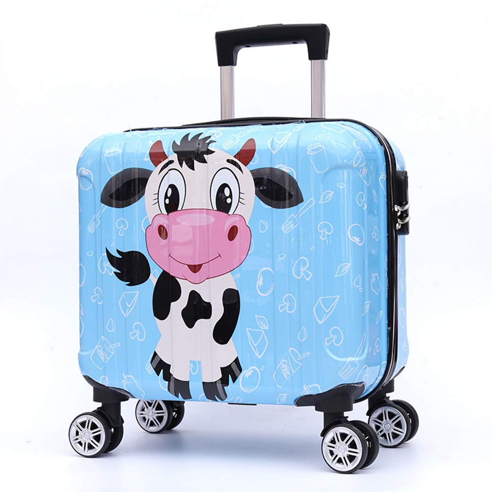 16'' Unisex Children Carry On Luggage Kids Rolling Suitcase Zoo Cartoon Cute Animal Travel Trolley Suitcase PC With Universal Wheels with Zipper ABS+PC for Boys Girls Baby Hard Shell (cow)