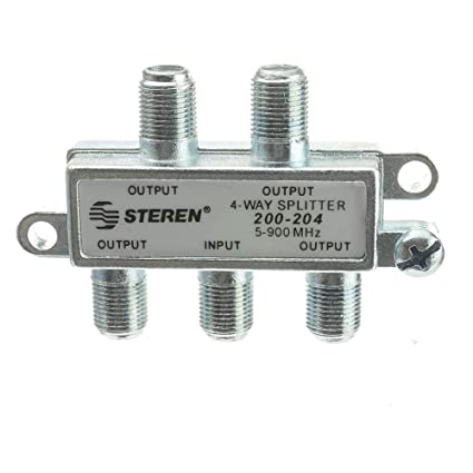 CableWholesale F-Pin Coaxial Splitter, 4 Way, 5-900 MHz, UHF-VHF-FM,  OTA/Broadcast tv/Antenna