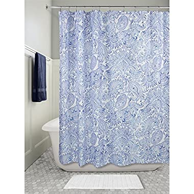 InterDesign Paisley Fabric Shower Curtain, 72  X 72  - Blue