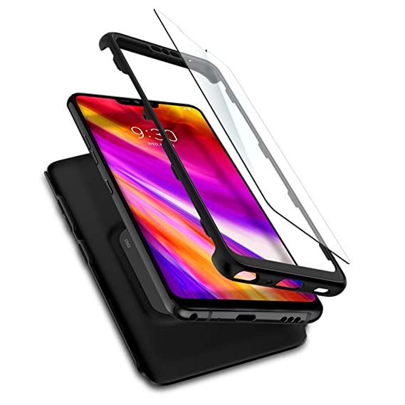 buy online 6f0cc 9ab8a Spigen Thin Fit 360 Designed for LG G7 Case (2016) 2 Tempered Glass Screen  Protectors Included - Black