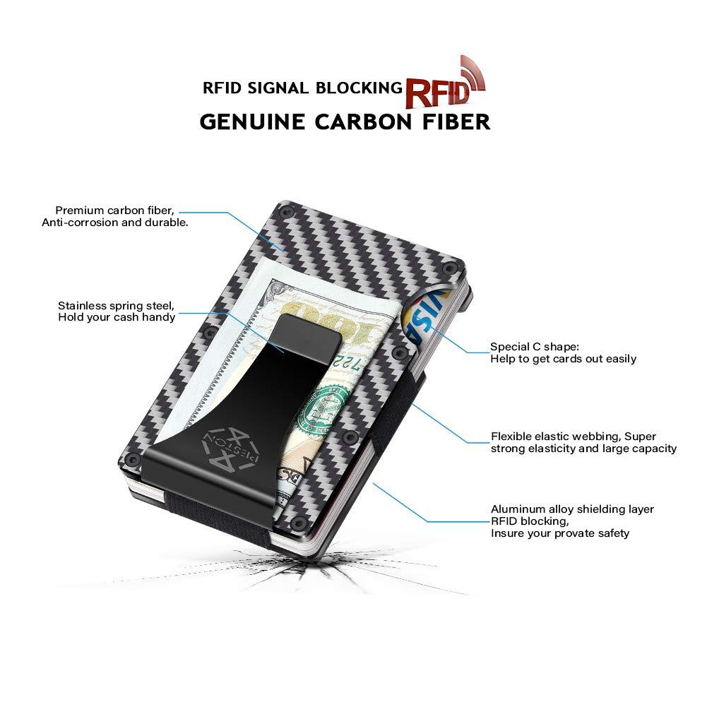 PESTON Minimalist Carbon Fiber Wallet and Money Clip RFID Blocking Card Holder
