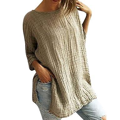 53eaa8a62fd Women's Casual Cotton Linen Blouse Tops Summer Crew Neck 3/4 Sleeve Tunic T-