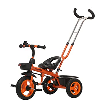 Bicicletas HAIZHEN Cochecito Triciclo para Niños Embrague De La Rueda Delantera Rueda Vacía De Titanio No Inflable Doble Freno Doble Barra De Empuje Bebés ...