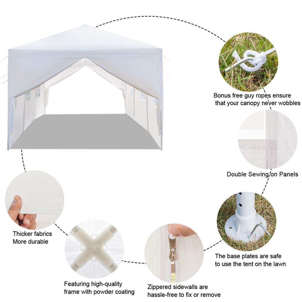 Ooscy Party Tent,Pop up Canopy Party Wedding Gazebo Tent Shelter with Removable Side Walls White by Ooscy (Image #4)