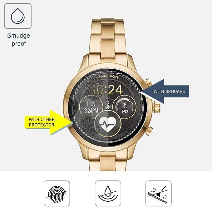3 paquetes de Michael Kors Access Runway 2018 reloj de cristal templado protector de pantalla cobertura completa BECROWMEU 9H dureza antiarañazos ...