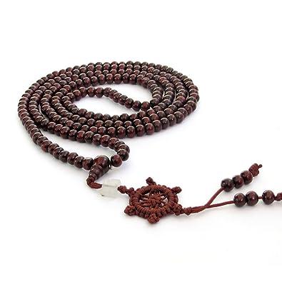 Ovalbuy 216 Wood Beads Tibetan Buddhist Prayer Japa Mala Necklace
