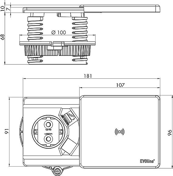 Unbekannt Schulte 159270000700 EVOline Square Qi mit QI-Ladefunktion ...