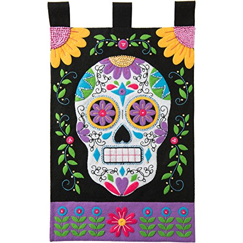 Bucilla Felt Applique Wall Hanging Kit, Sugar Skull, 86690 Size 15-Inch by 25-Inch