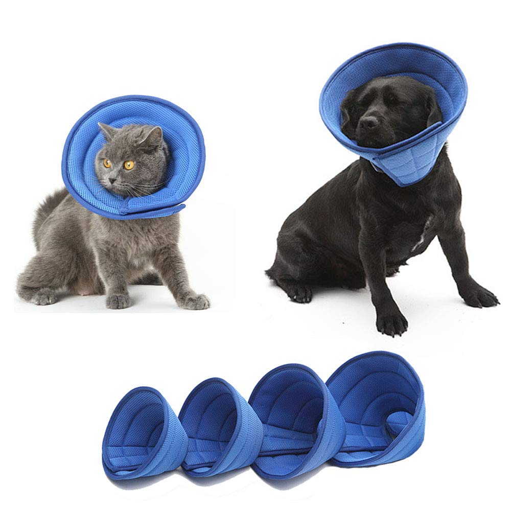 KnocKconK Breathable Mesh Elizabethan Collar, Blue Soft Comfy Adjustable E-Collar, Quicker Healing Pet Recovery Cone, Soft Edges ,Anti-Bite/Lick for Small Medium Dog, Cat, Rabbit. by KnocKconK