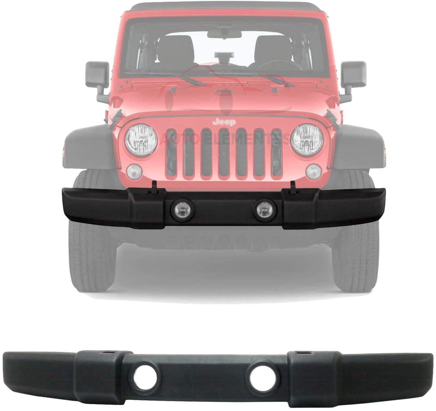 New Front Bumper Cover Textured With Fog Light & Tow Hook Holes For 2007-2018 Jeep Wrangler JK Direct Replacement 1FN67RXFAA