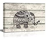 wall26 Illustration of a Decorative and Patterned Baby Elephant - Canvas Art Home Decor - 12x18 inches