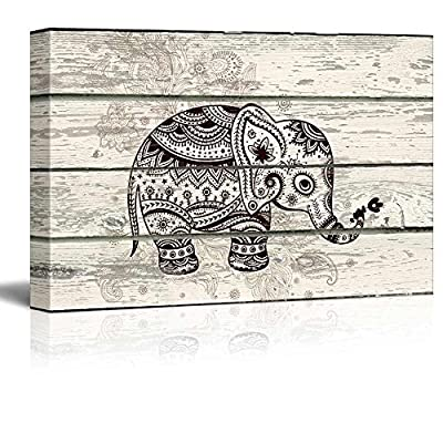 Tribal Style Baby Elephant - Canvas Art