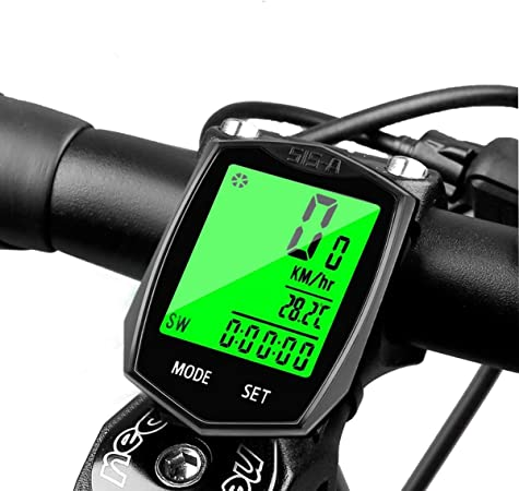 Ciclocomputador Bicicleta Inalámbrico Iseebiz Velocímetro Bicicleta Ordenador Cuentakilómetros Impermeable con Pantalla LCD