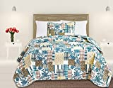 Great Bay Home 3 Piece Quilt Set with Shams. Soft All-Season Microfiber Bedspread in Stitched in Attractive Patterns. Machine Washable. The Blue Hill Collection By Brand. (Twin)