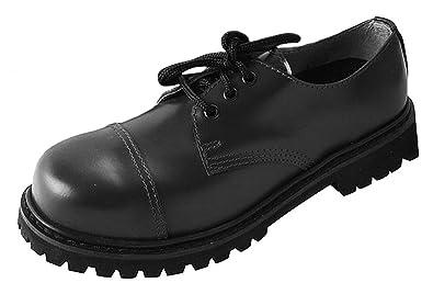 Knightsbridge 3 Loch Ranger Stiefel Schwarz mit Stahlkappe Boots Steel Toe Gothicschuhe Größe 37 47