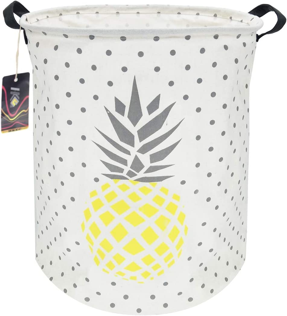 HKEC 19.7'' Waterproof Foldable Storage Bin, Dirty Clothes Laundry Basket, Canvas Organizer Basket for Laundry Hamper, Toy Bins, Gift Baskets, Bedroom, Clothes, Baby Hamper(Yellow and Gray Pineapple)