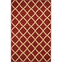 Bandelini Napoli Collection Modern Contemporary Moroccan Mediterranean Trellis Lattice Design Rubber-Backed Non-Slip Non-Skid Area Rugs, Cherry Red Beige 5 x 7