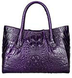 Pijushi Women Embossed Crocodile Bag Designer Top Handle Handbags Holiday Gift 5002A (One Size, 5002A Violet)