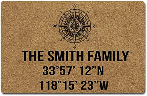 Artsbaba Custom Family Name Personalized Doormat Latitude and Longitude Door Mat Rubber Non-Slip Entrance Rug Floor Mat Welcome Mat Home Decor Indoor Doormat 23.6 x 15.7 Inches, 3 16 Thickness