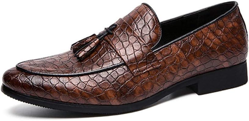 Zapatos Formales para Hombres Mocasines con borlas de Cuero con Punta Puntiaguda Zapatos sin Cordones Planos Zapatos de Vestir de Negocios Transpirables y Casuales para Bodas: Amazon.es: Zapatos y complementos