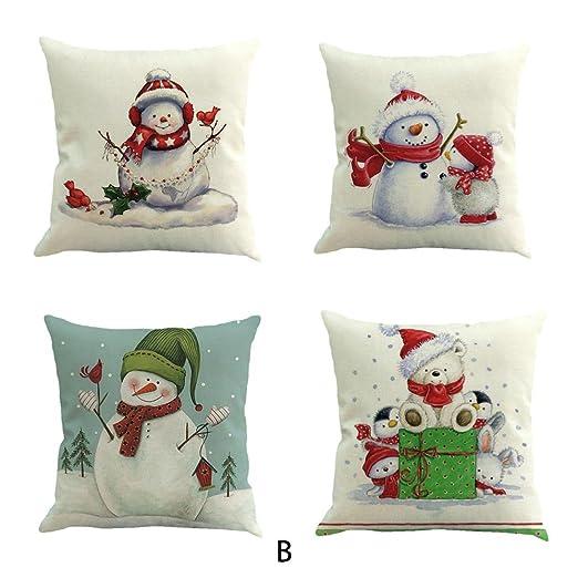 Cojín, resplend 4 pieza Navidad ropa de cama de algodón Sofá ...