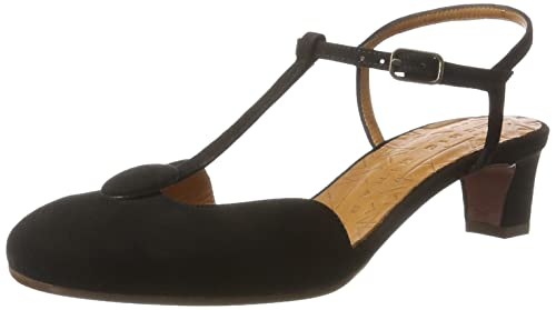Chie Mihara Women's Molow T-Bar Sandals, (Ante Ante Negro)