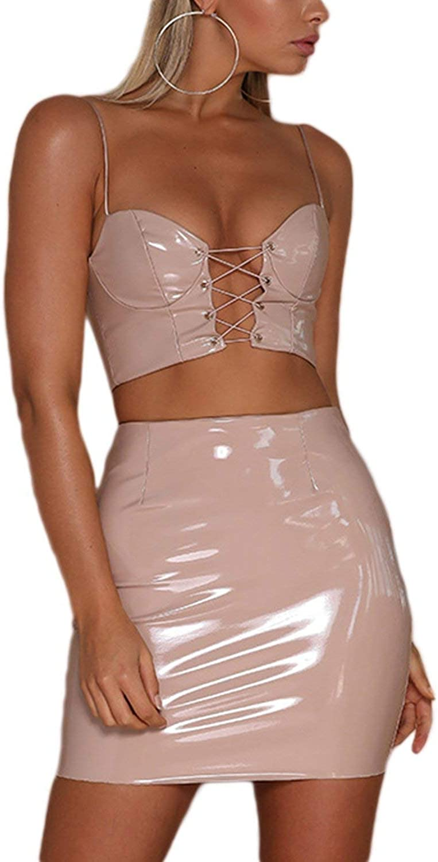 Vgvgh Women Bandage Zipper PU Bodycon Dress Camisole Skirt Two-Piece Set