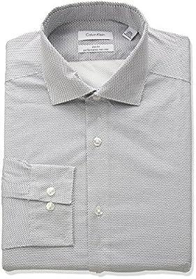 Calvin Klein Men's Non Iron Stretch Slim Fit Dot Print Dress Shirt