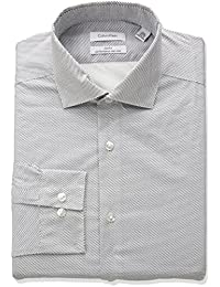 Men's Non Iron Stretch Slim Fit Dot Print Dress Shirt