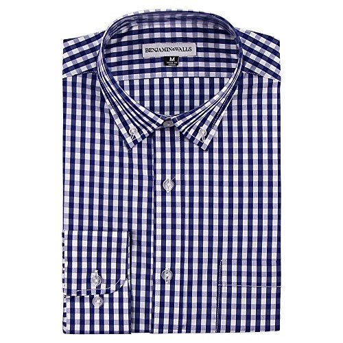 Navy Plaid Button Down Shirt (Men's Long Sleeve Button Down Stretch Fit Casual Shirt (Navy/White Plaid,)