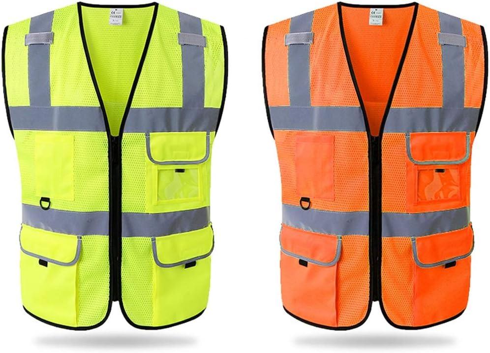 Sommer Atmungsaktive Verkehr Reiten Sicherheitskleidung Color : Fluorescent red, Size : S BAU Fahrer Weste ZXCMNB Mesh Reflektierende Weste