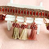 MINO 1202 3.1'' X13.6YD Whole sale Ten Colors Handmade Beaded Tassel Fringe Trimming For Crutain Fringe Ball 40 Lines Per meter