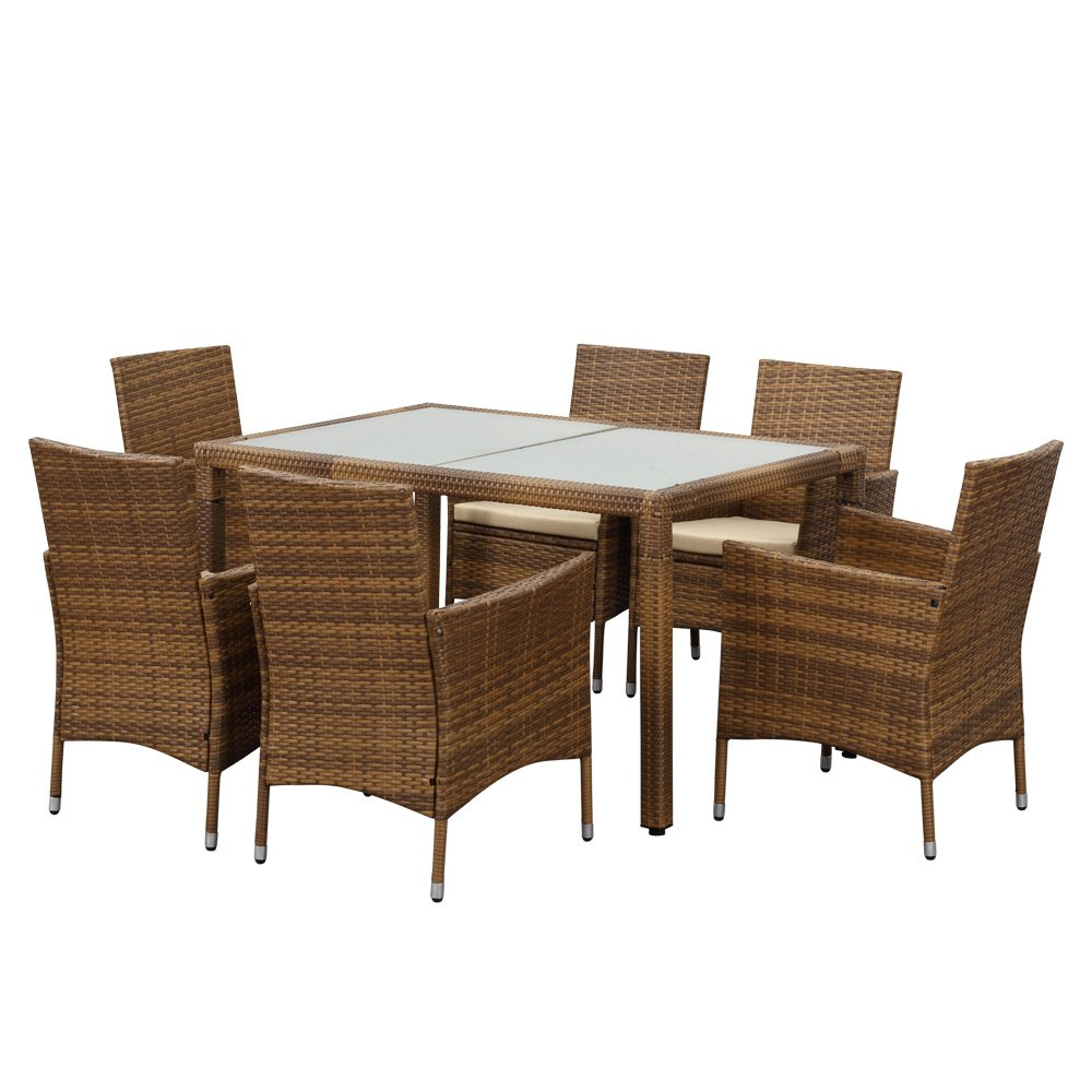 Amazon.com: iKayaa Patio Dining Table Set for 6 Outdoor Wicker ...