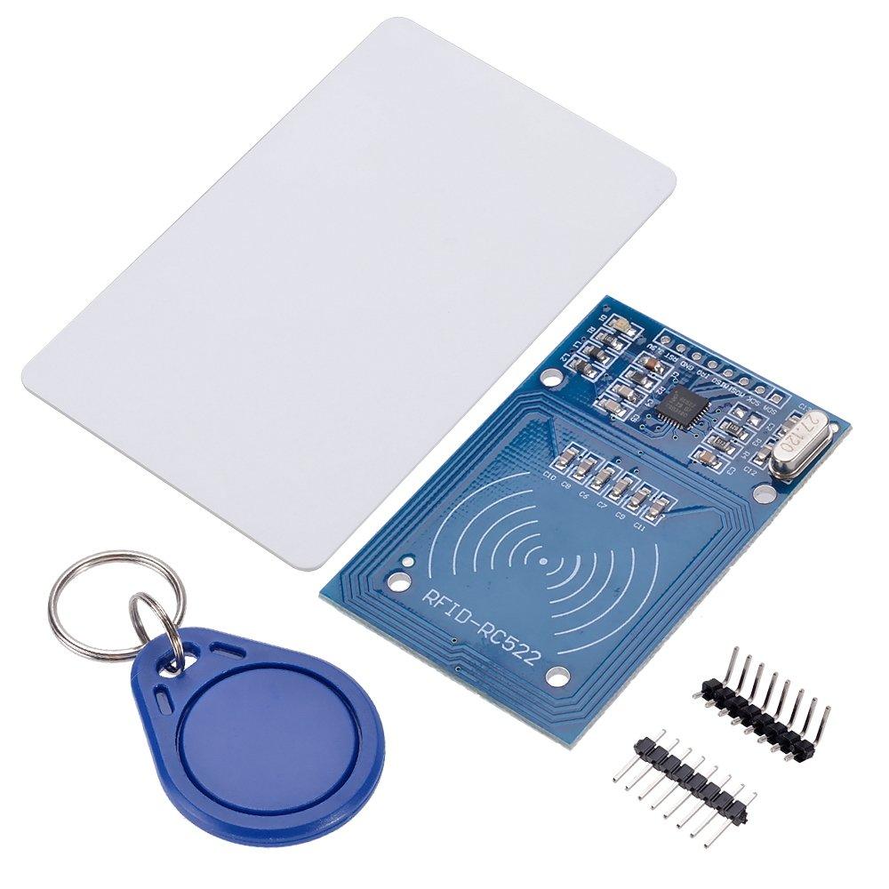 IngeniApp® RFID Lector sin contacto (Contactless) MRFC522 con llavero RFID, tarjeta Mifare y conector plano y acodado. Para Arduino, Raspberry PI